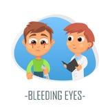 Blöda ögonläkarundersökningbegrepp också vektor för coreldrawillustration Arkivbild