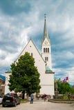 Blödd kyrka i Slovenien Arkivfoto