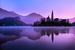 Blödd kyrka, Slovenien fotografering för bildbyråer