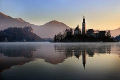 Blödd kyrka, Slovenien arkivfoton