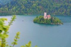 Blödd sjö i Slovenien med antagandet av Mary Church Royaltyfria Foton