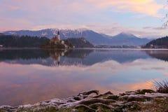 Blödd sjö och ön Royaltyfria Foton