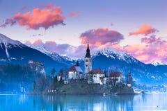 Blödd sjö, Slovenien, Europa arkivfoton