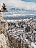 Blödd stad i vinter, Slovenien Royaltyfri Foto