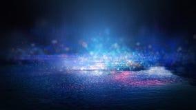 Blöta asfalt efter regn, reflexion av neonljus i pölar Ljusen av natten, neonstad abstrakt bakgrundsdark royaltyfria bilder