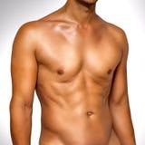 blöta den male muskulösa torsoen Arkivbilder