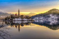 Blött med sjön i vinter, Slovenien, Europa Arkivbild