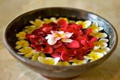 Blühen Sie Blumenblätter in einer Schüssel an einem Badekurort Lizenzfreie Stockfotografie