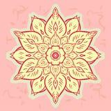 Blühen Sie bunte Vektorillustration der Mandala für die Färbung Stockbilder