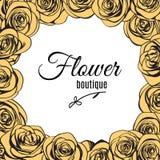 Blühen Sie Butikenlogoschablone im Elfenbeinrosenrahmen Vektor Stock Abbildung