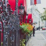 Blühen Sie Detail einer Straße in Mayfair, in einem reichlichen Bereich von Lon Lizenzfreies Stockbild
