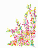Blühen Sie Grenzkarte für Grußkarte - übergeben Sie gezogenes Stockfotos