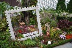 Blühen Sie Haube an den Gärten durch die Bucht in Singapur Stockbilder