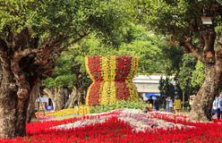 Blühen Sie Logo asean in asean-Blumenfestival 2015 Stockbild