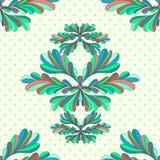Blühen Sie nahtloses Muster des abstrakten Vektors der Blumenblätter auf einem geometrischen Hintergrund Stockbilder