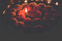 Blühen Sie rangoli für Diwali oder pongal oder das onam, das unter Verwendung der Ringelblumen- oder zendublumen und der roten ro Lizenzfreie Stockbilder