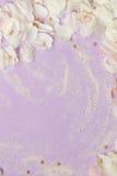 Blühende Blume des Frühlinges auf dem hellen Lavendelhintergrund Raum für Text Stockfoto