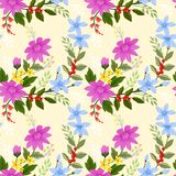 Blühende Blumen auf nahtlosem Muster des gelben Hintergrundes vektor abbildung