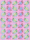 Blühende Blumenblätter auf rosa Gingham Lizenzfreie Stockbilder