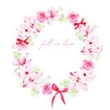 Blühende Blumensträuße mit Bogenvektor-Designrahmen Stockfotos