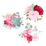 Blühende Hochzeitsblumenvektor-Designblumensträuße stock abbildung