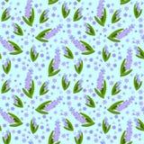 Blühende Hyazinthen auf einem hellblauen Hintergrund nahtlos Lizenzfreie Stockbilder