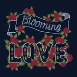 Blühende Liebe Bunte romantische Weinlesekunst Blaue Handbeschriftung mit roten Rosen auf dunklem Hintergrund stock abbildung