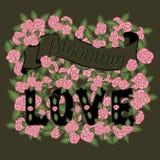 Blühende Liebe Bunte romantische Weinlesekunst Dunkle Handbeschriftung und rosa Rosen auf kakifarbigem Hintergrund vektor abbildung