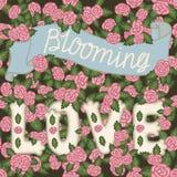 Blühende Liebe Romantische Weinleseillustration Übergeben Sie Beschriftung auf einem nahtlosen Muster mit rosa Rosen vektor abbildung