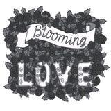 Blühende Liebe Romantische Weinlesekunst Übergeben Sie Beschriftung und dunkle Rosen auf weißem Hintergrund lizenzfreie abbildung