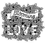 Blühende Liebe Romantische Weinlesekunst Handbeschriftung und -rosen auf weißem Hintergrund lizenzfreie abbildung