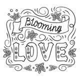 Blühende Liebe Romantische Weinlesekunst Schwarze Handbeschriftung auf weißem Hintergrund Malbuchseite, Schablone lizenzfreie abbildung