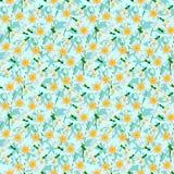 Blühende Narzissen auf dem blauen Hintergrund nahtlos Stockfotografie