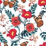 Blühende rote Blumen des modischen nahtlosen mit Blumenmusters mit Motivvektorbeschaffenheit botanischer Garten des Schmetterling vektor abbildung