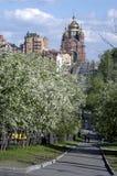 Blühende Straße zu einem Tempel Stockfotos