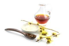 Blühende Zaubernuss (Hamamelis), getrocknete Blätter, Creme und Essen Lizenzfreie Stockfotos