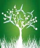 blühender Baum mit Windmühlen Stockfotos