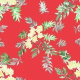 Blühender Frühling des nahtlosen Musters des Aquarells verzweigt sich mit gelben Blumen und Grün verlässt auf einem roten Hinterg Stockfotos