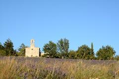 Blühender Lavendel fangen und hohes Gras vor einer Kapelle auf stockfotografie