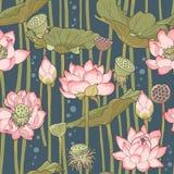Blühender Lotos nahtlos stock abbildung