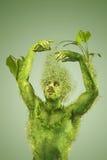 Blühendes Mann-, Vegetarier- und Vegetarierkonzept Stockfoto