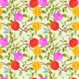 Blühendes nahtloses Muster der bunten Blumen stock abbildung