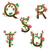 Blüht Alphabet mit roten Rosen Stockfotos