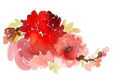 Blüht Aquarellillustration Stockbild