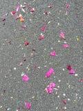 Blüht Blumenblätter auf der Straße während eines Festivals lizenzfreies stockfoto