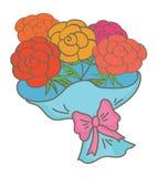 Blüht Blumenstrauß im Packpapier lizenzfreie abbildung