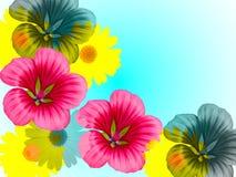 Blüht dekoratives stilisiert auf dem Blau lizenzfreies stockfoto