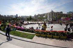 Blüht Feiertag im Winter-Boulevardpark in Baku-Stadt Stockbilder
