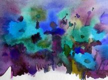Blüht helle unscharfe strukturierte Dekorations-Handschöne wilde Mohnblume des Aquarellkunstzusammenfassungshintergrundes Wiesens lizenzfreie abbildung