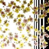 Blüht nahtloser Musterherbst des Aquarells auf einem weißen und schwarzen Streifenhintergrund Stockbild